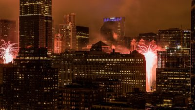 Chicago city, Skyscrapers, Fireworks