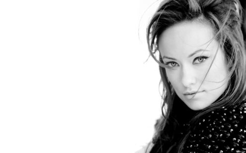 actress Olivia Wilde - black & white