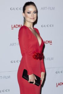 actress Olivia Wilde in red dress by GUCCI