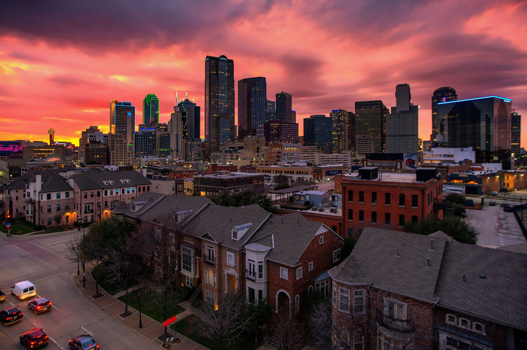 Pink sky over the Dallas