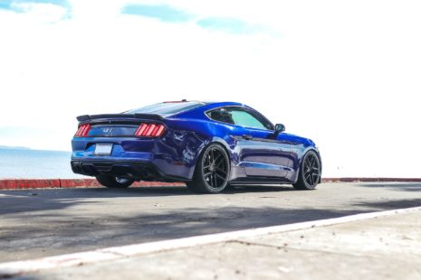 blue 2018 Ford Mustang GT on custom wheels