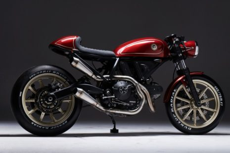 red Ducati Scrambler 400 cafe racer