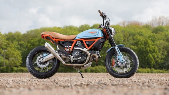 red-blue Ducati Scrambler