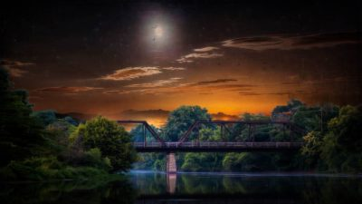 Red sky, Steel bridge, Moon, At night, Forest, Landscape