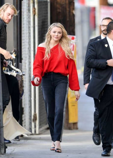 Chloe Moretz in red sweater after Jimmy Kimmel Live in Hollywood, 2019
