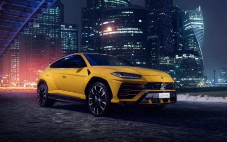 2019 yellow Lamborghini Urus at night city 4k wallpaper