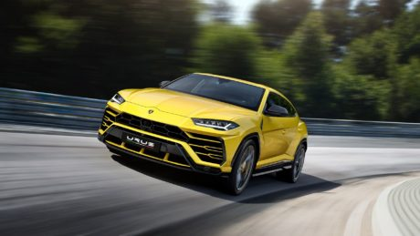 2019 yellow Lamborghini Urus motion 1920x1080 wallpaper
