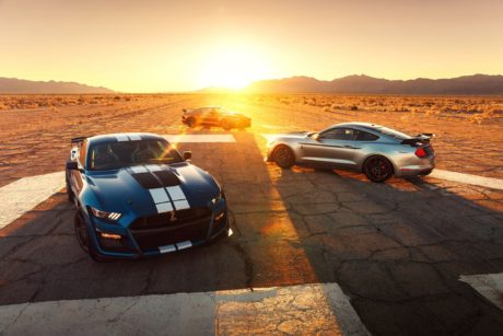 2020 Ford Mustang Shelby GT500 - three Mustangs at sunset