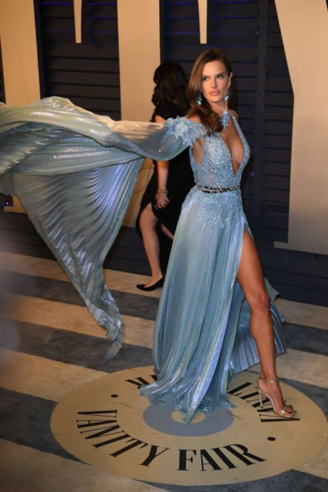 Alessandra Ambrosio poses in blue dress at Vanity Fair Oscar Party