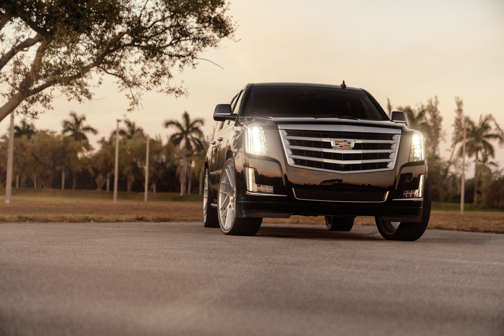 Cadillac Escalade - with turned-on headlights