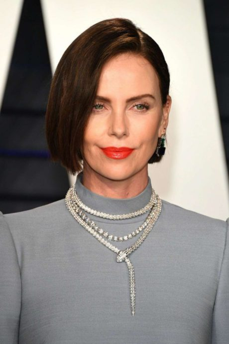 Charlize Theron with new necklace at Vanity Fair Oscar Party 2019