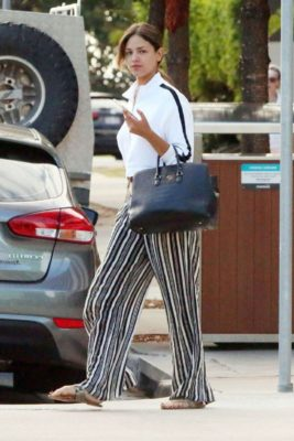 Eiza Gonzalez in stripped pants, street style