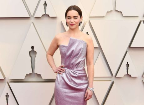 Emilia Clarke in silver dress at the Oscars in Los Angeles, 2019