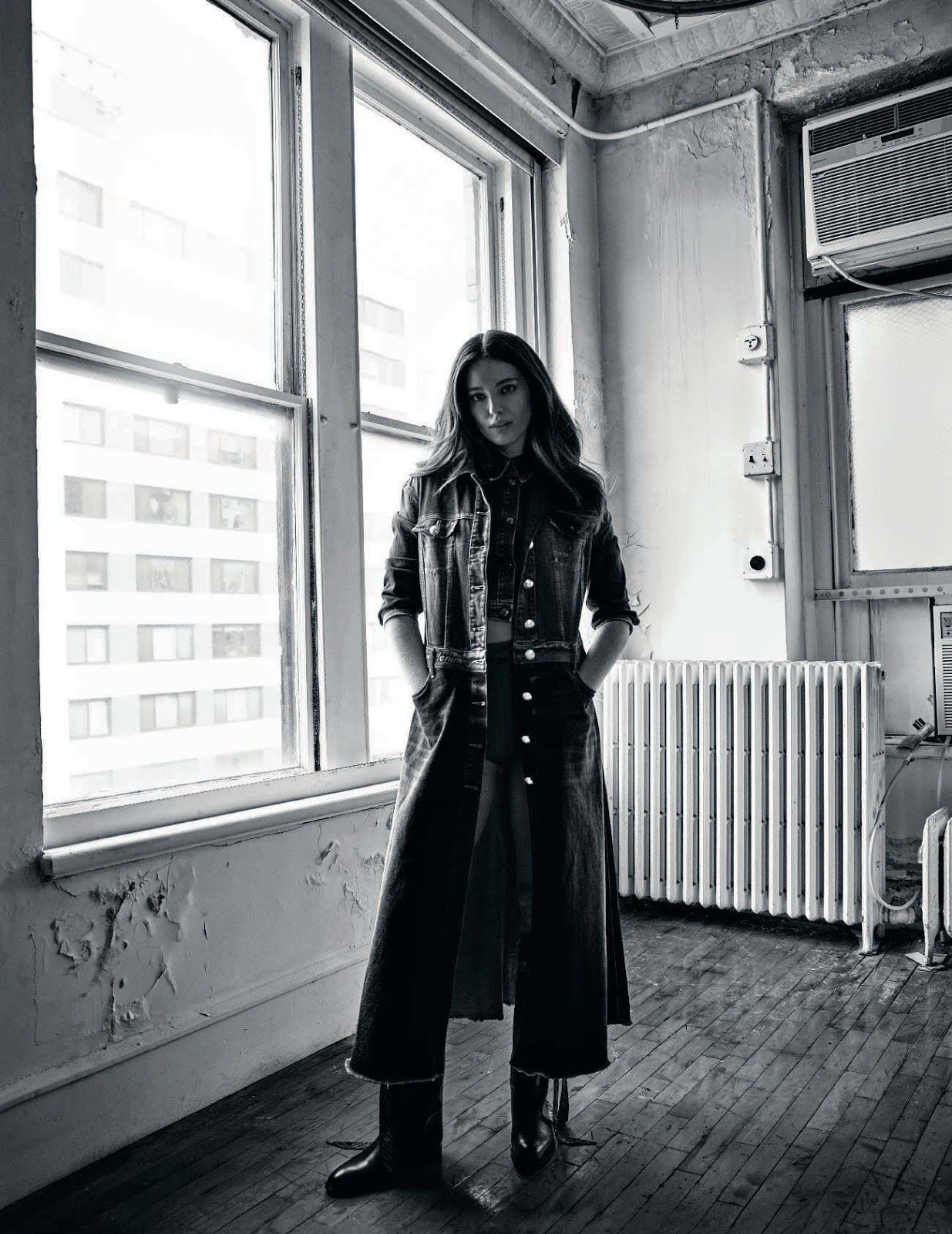 Emily DiDonato in jeans coat for Elle Italia