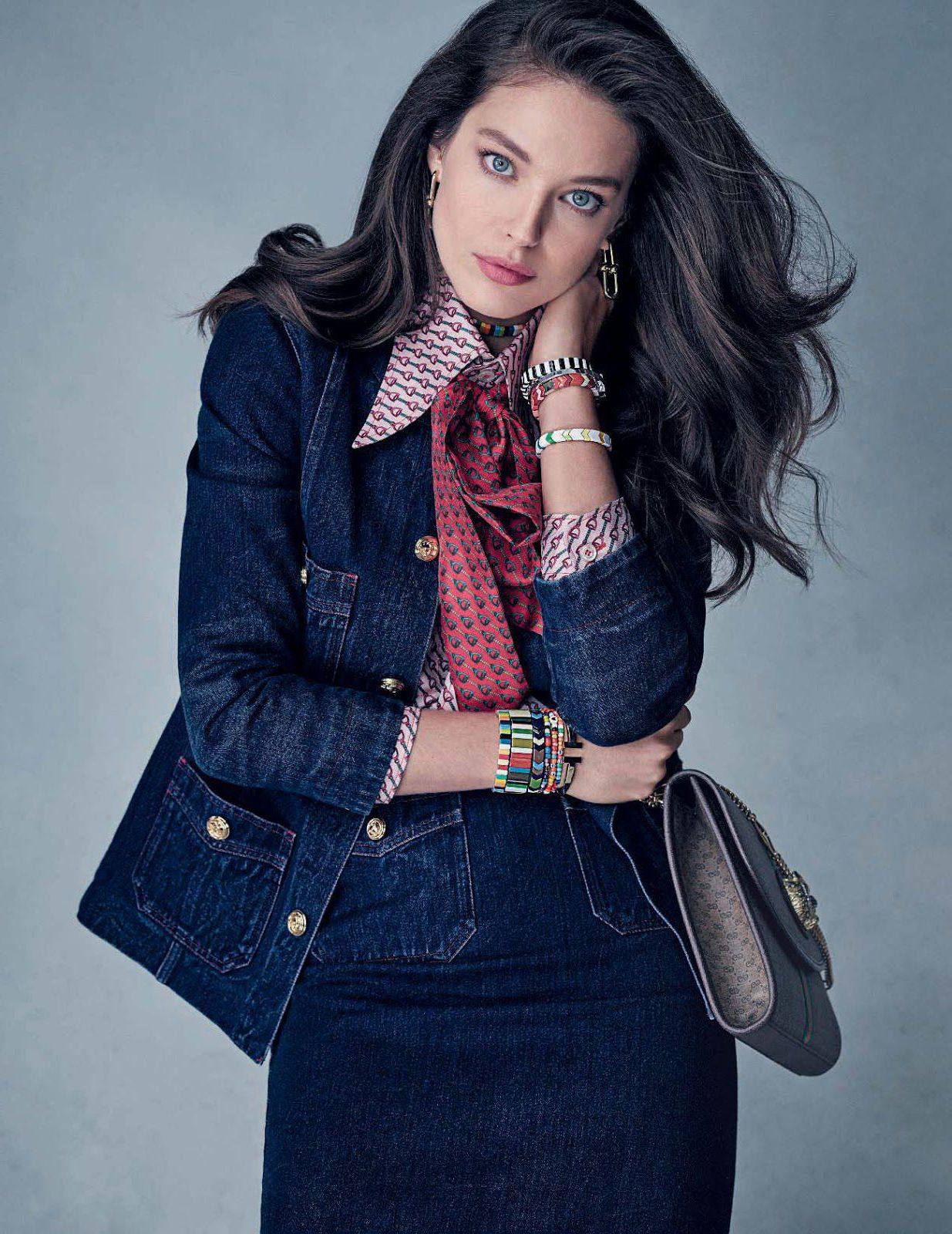 Emily DiDonato, new jeans style for Elle Italia
