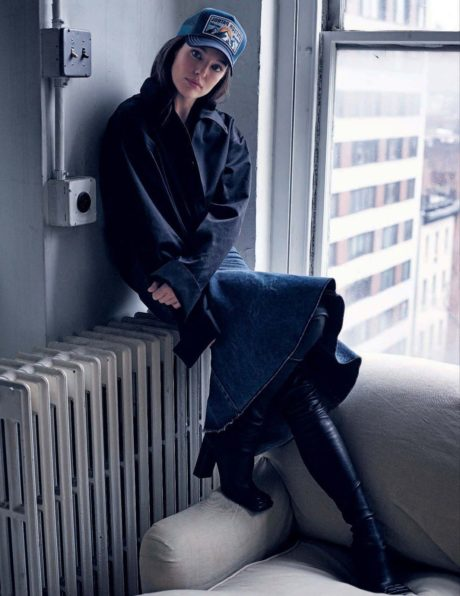 Emily DiDonato. posing near a window for Elle Italia
