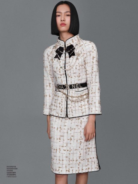 Jia Li in white office dress by chanel