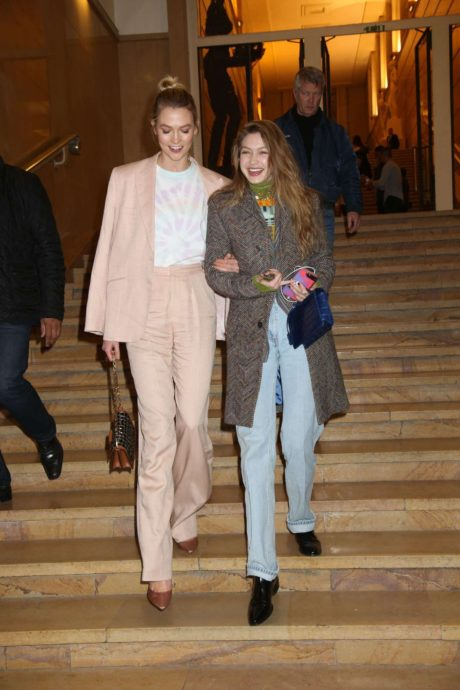 Karlie Kloss and Gigi Hadid are happy at the Evian x Virgil Party, 2019