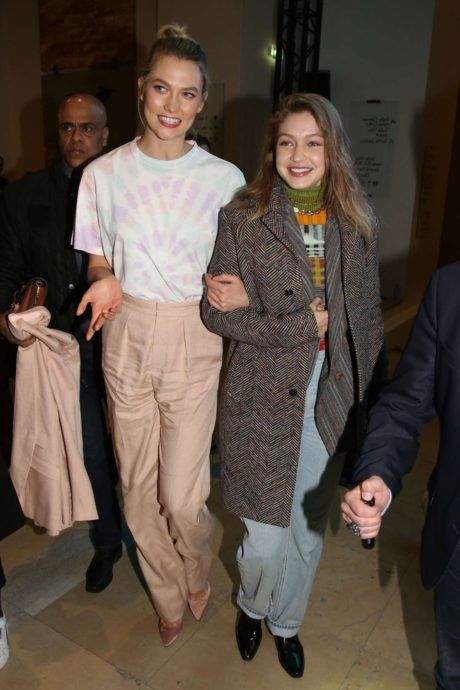 Karlie Kloss with Gigi Hadid at the Evian & Virgil Abloh Launch Party in Paris, February 2019