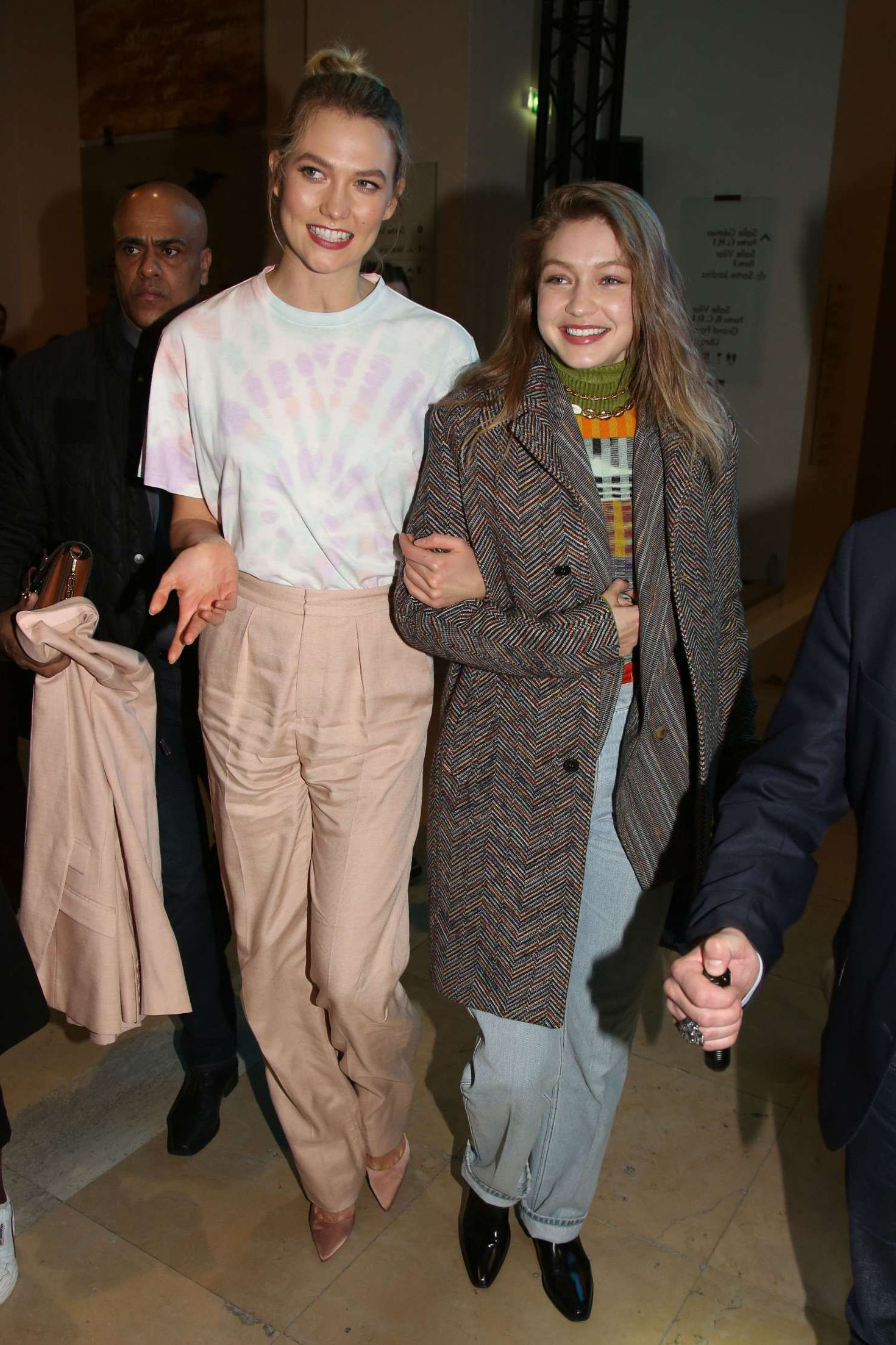 Karlie Kloss and Gigi Hadid are very happy to appear at the Evian x Virgil Party, 2019