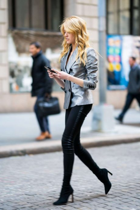 Katherine McNamara in black leggings, New York, 2019