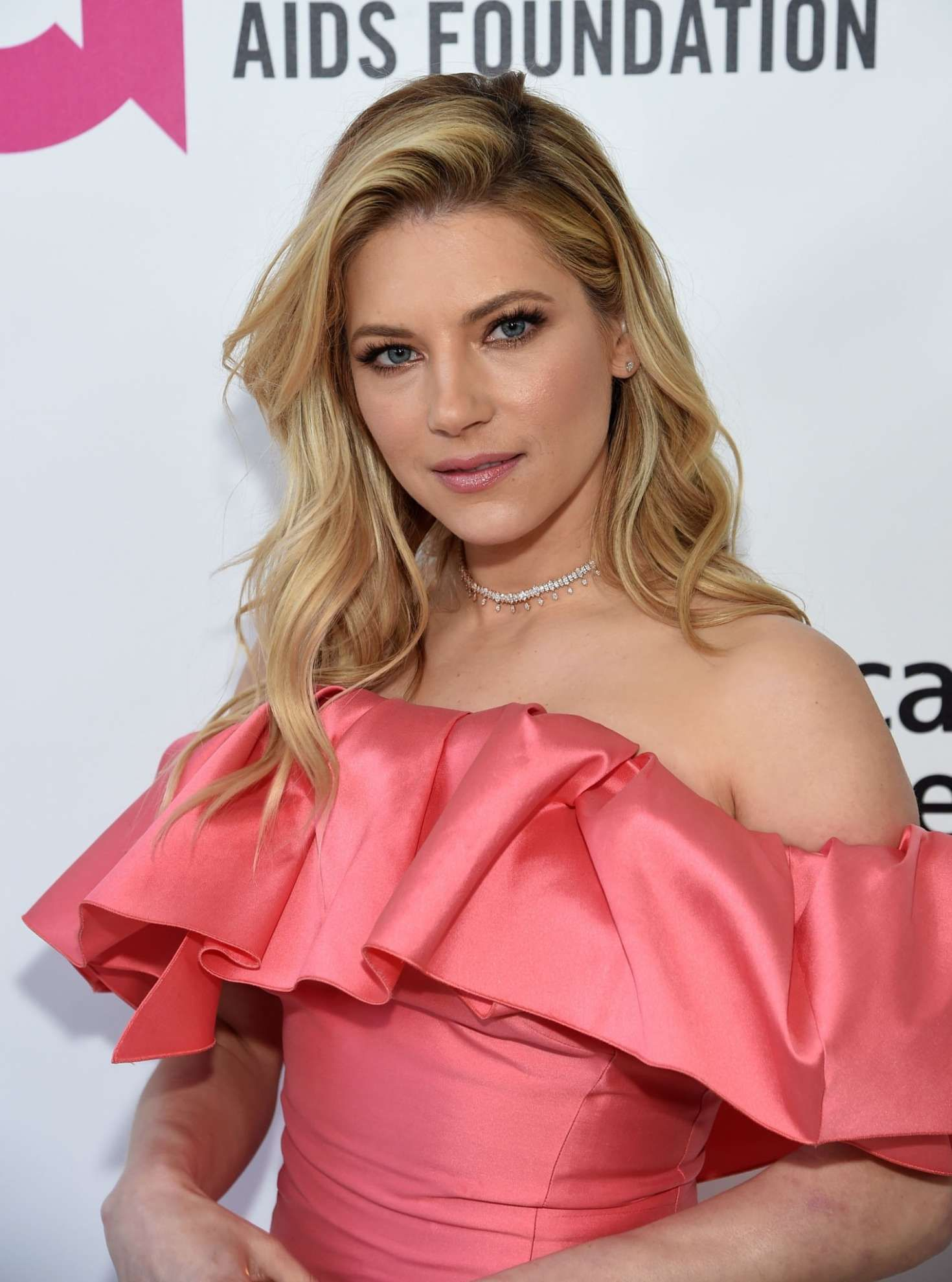 Katheryn Winnick with beautiful makeup and hairstyle at the Elton John AIDS Foundation Academy Awards, 2019