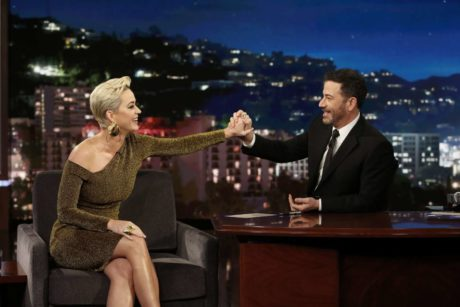 Katy Perry lokks to Jimmy at the 'Jimmy Kimmel Live' in Los Angeles, 2019