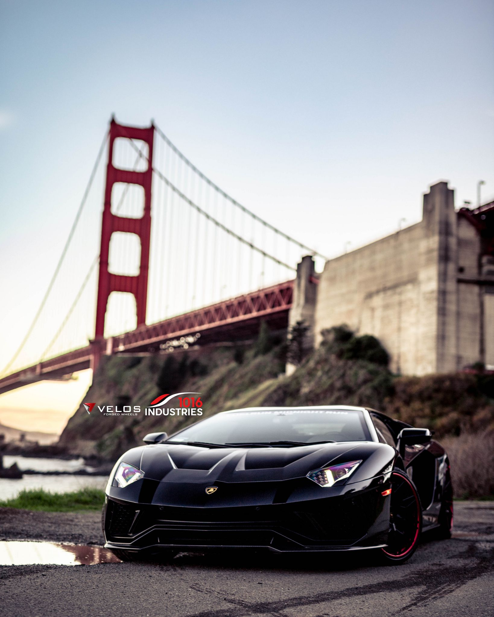 Lamborghini Aventador S, black, at bridge background, Sports car