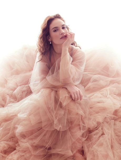 Lily James posing for Harper's Bazaar, March 2019