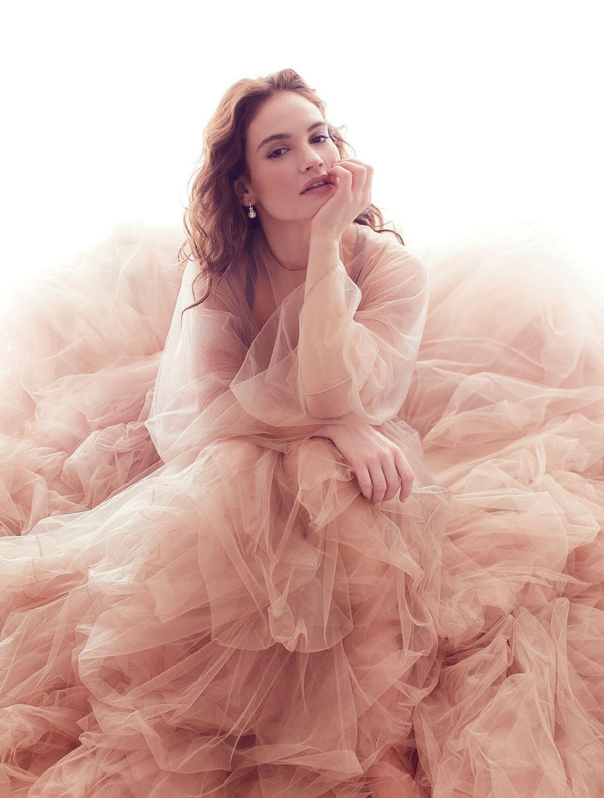Lily James for Harper magazine cover