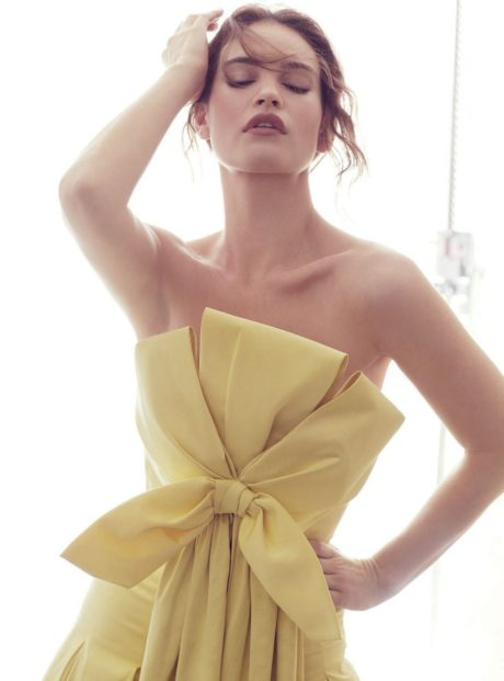 Lily James in dress bow for Harpers Bazaar