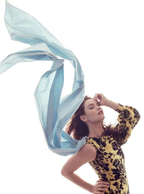 Lily James wind for Harpers Bazaar