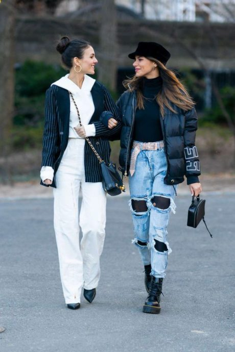 Madison Reed in street ofice style and Victoria Justice in winter style