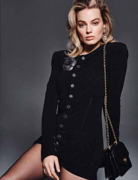 Margot Robbie in black dress for Elle France