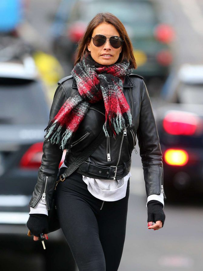 Melanie Sykes, black leather jacket, street style, London