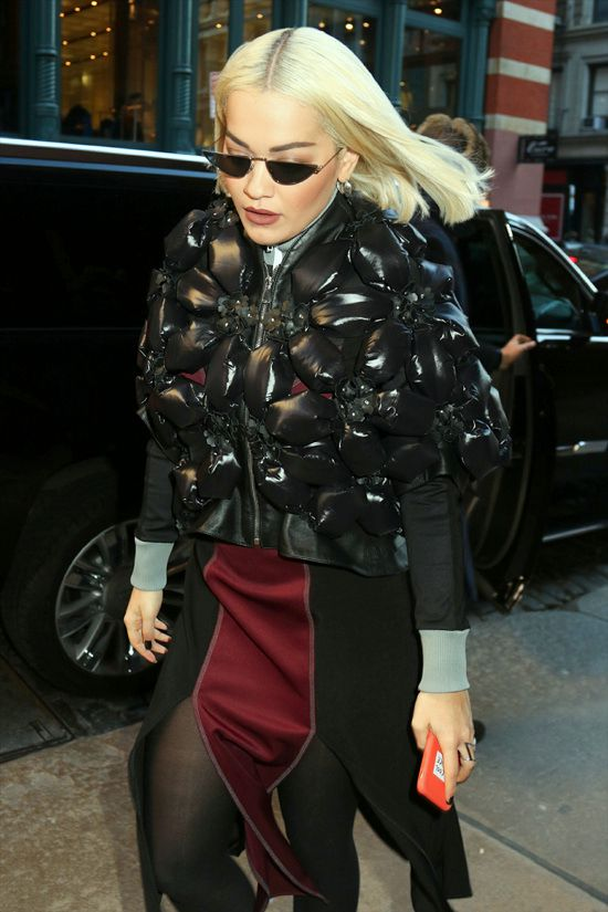 Rita Ora style Puffer Jacket Palm Angels Dress from the Fall 2018 Collection by Jason Rembert