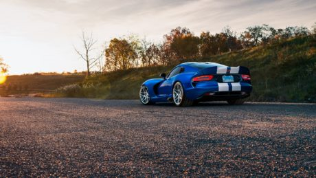 blue Dodge Viper - rear-side view