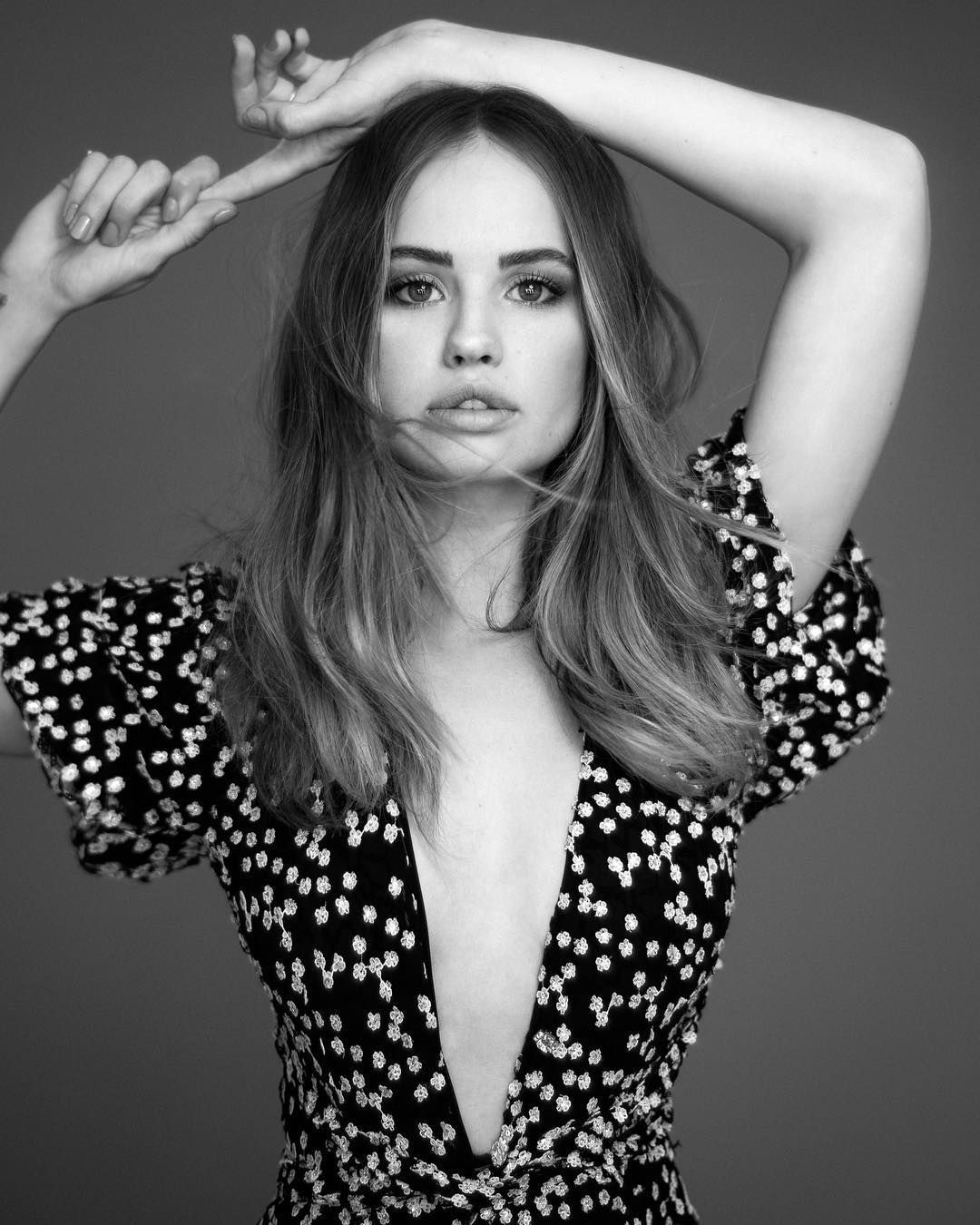 cute Debby Ryan in blackwhite