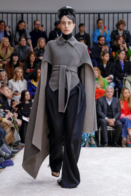 dark grey coat and black wide pants by JW Anderson