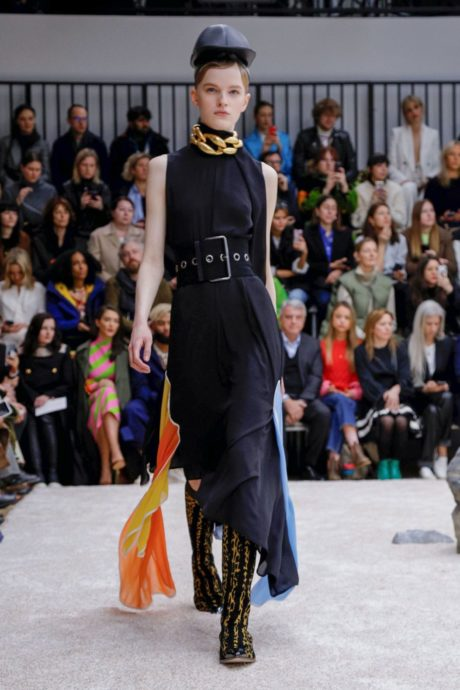 elegant black dress with golden neckband by JW Anderson