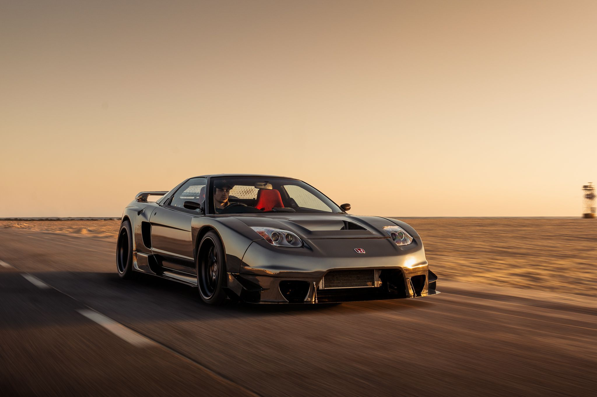 grey NSX in motion at sunset, wallpapers