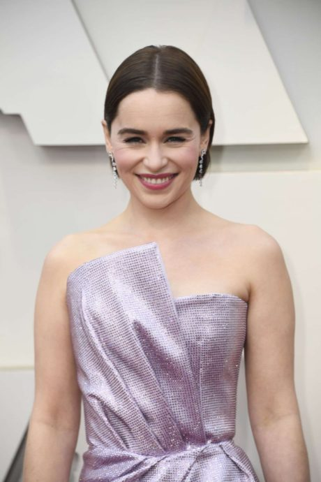 happy Emilia Clarke at the Oscars in Los Angeles, 2019