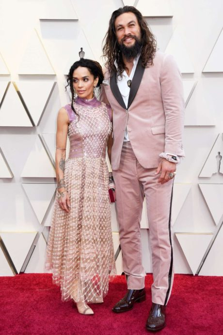 happy Jason Momoa with Lisa Bonet at the Oscars in Los Angeles, 2019
