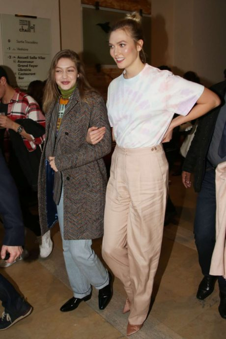 happy Karlie Kloss and smiles Gigi Hadid at the Evian x Virgil Party, 2019