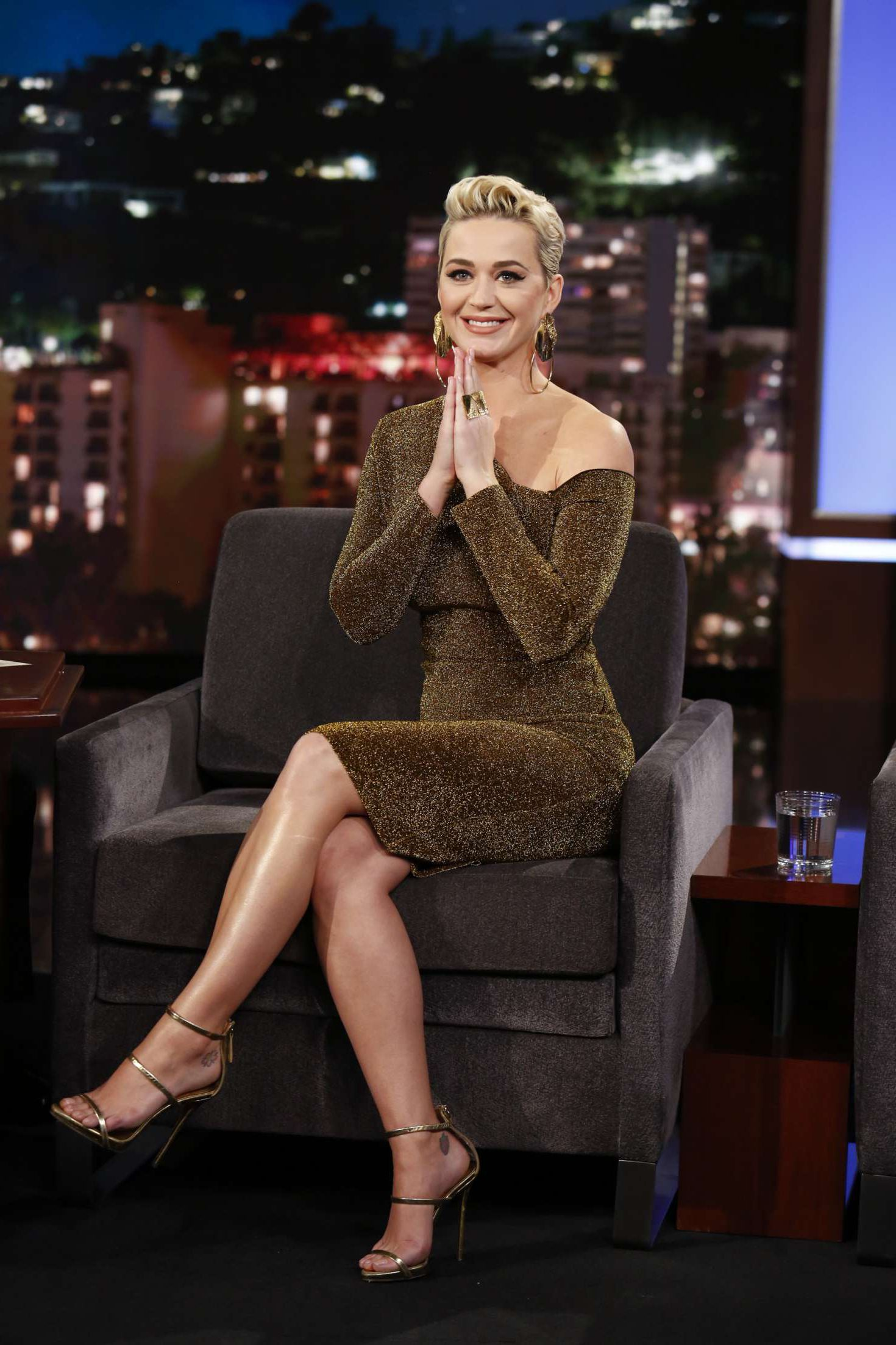 happy Katy Perry at the 'Jimmy Kimmel Live' in Los Angeles, 2019