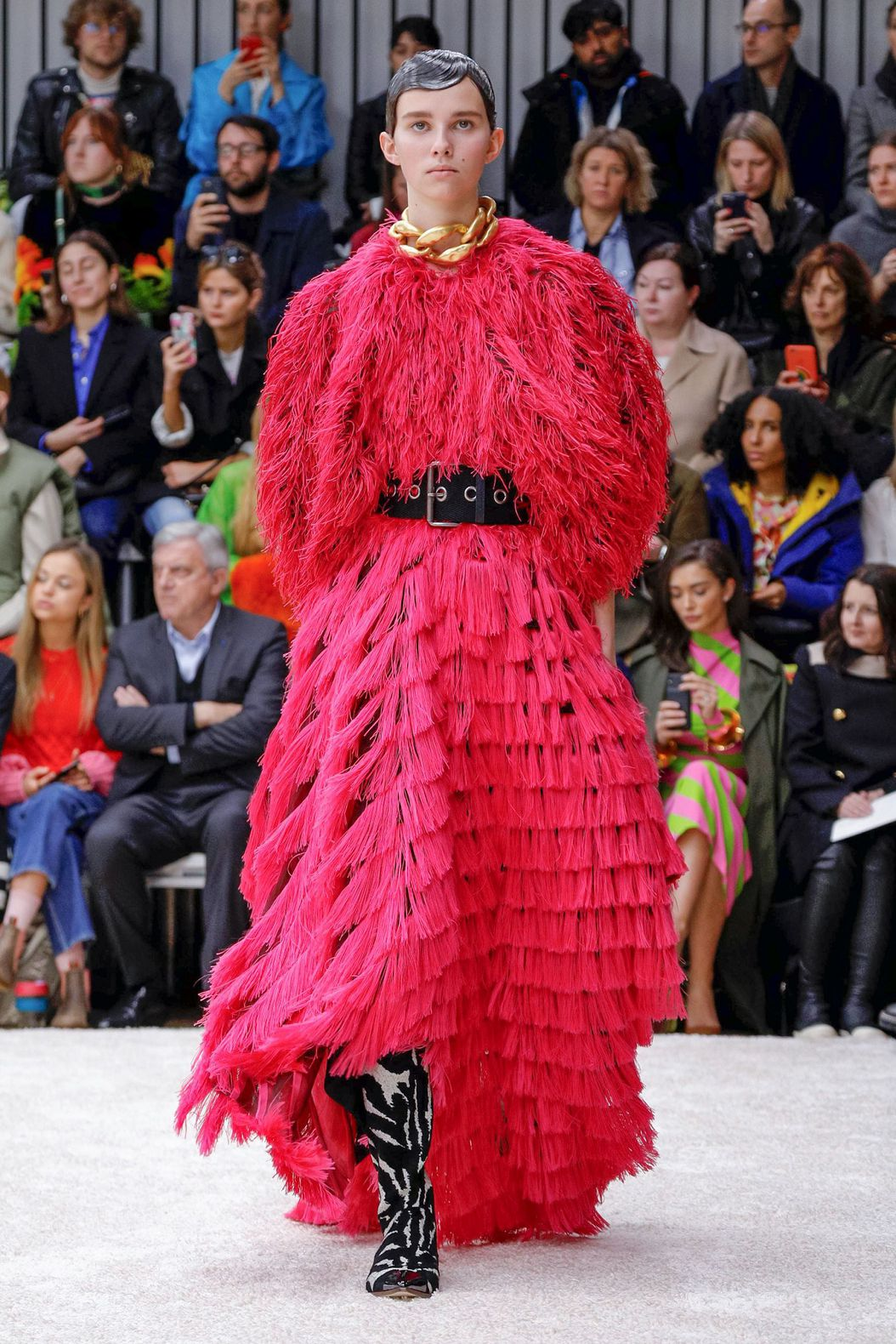 red fluffy long dress by JW Anderson