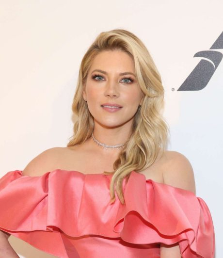 smiles Katheryn Winnick at the Elton John AIDS Foundation Academy Awards, 2019