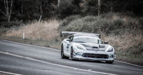 white Dodge Viper, turbo kit - Targa Event, Tasmania