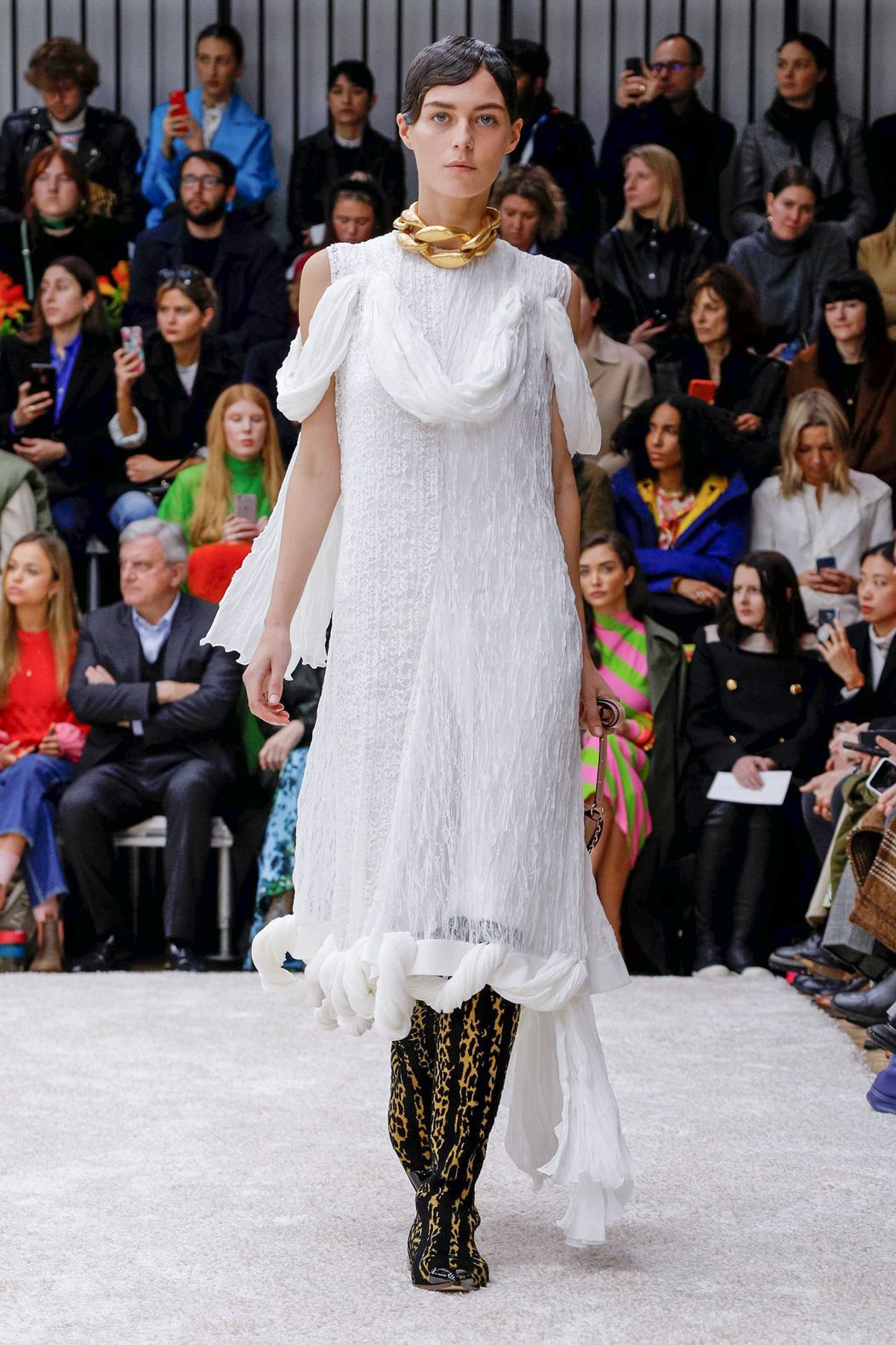 white long dress and leopard shoes by JW Anderson