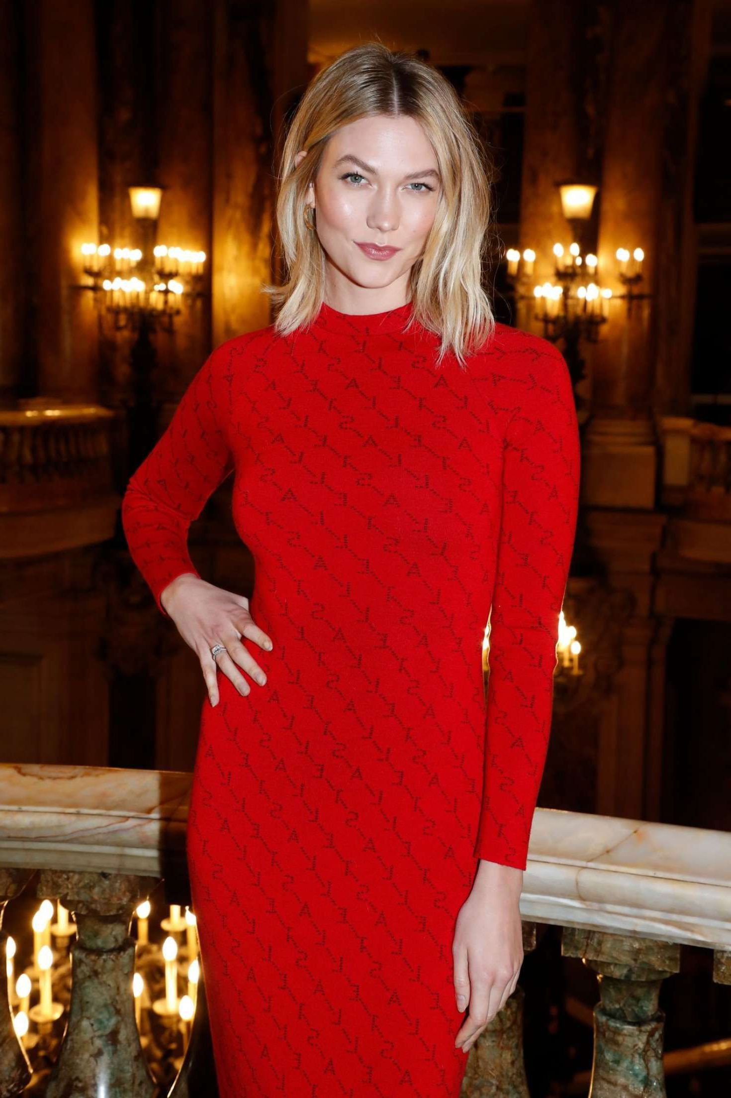 Photo 02: Karlie Kloss in red long dress, Paris, 2019